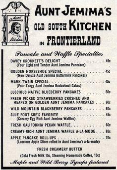 They're Toasted! Disneyland Ads, 1957 « Progress City, U. Old Disney, Disney Tips, Disney Love, Disney Magic, Disney Stuff, Punk Disney, Vintage Menu, Vintage Ads, Vintage Food