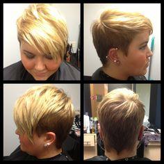 Undercut pixie  a la Miley Cyrus, dark golden blonde with bright blonde highlights on top