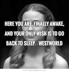 Here you are, FINALLY AWAKE, and your only wish is to go back to sleep. - Westworld
