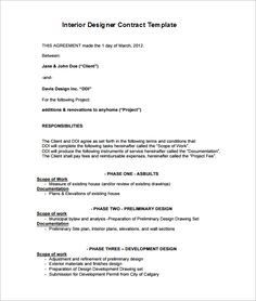 6 Interior Designer Contract Templates Free Word Pdf Doents Premium