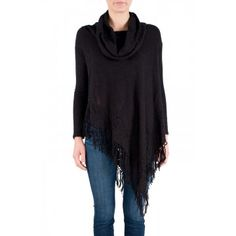 Free People Temptress Cowl Neck Sweater in Black - Long sleeve cowl neck sweater features pointelle detailing throughout. Fringed handkerchief hem and oversized body.   http://www.shopcrushboutique.com/apparel/sweaters-knits/free-people-temptress-cowl-neck-sweater-in-black.html