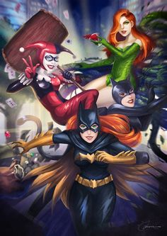 Batgirl, Harley Quinn, Cat-Woman, and Poison Ivy Comic Book Characters, Marvel Characters, Comic Character, Comic Books Art, Harley Quinn, Joker Und Harley, Catwoman Comic, Batgirl, Hq Marvel