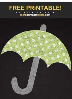 Chalk-Style Polka Dot Umbrella Cut Out Baby Shower Printables, Free Printables, Program Design, Polka Dots, Clip Art, Style, Swag, Free Printable, Polka Dot