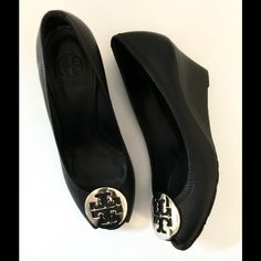Tory Burch heels Tory Burch Black Leather Peep Toe Wedges! With silver hardware! Floor model Gently worn! Women's size 7 1/2 medium! Tory Burch Shoes