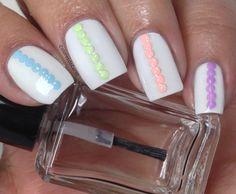 White nails and pastel studs. Born Pretty Store Collaboration