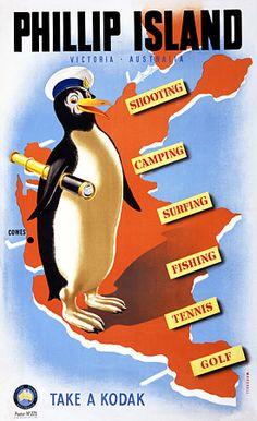 Vintage Phillip Island Penguin Victoria Australia Travel Posters Prints