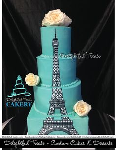 4 Tier Aqua Blue Buttercream Wedding Cake With Fondant Eiffel Tower Paris Parisian French By Delightful