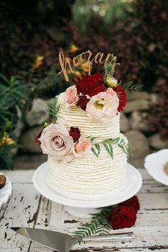 """Romantic wedding cake, """"hooray"""" cake topper, pink and red florals, roses, repin to your own wedding inspiration board // Leo Cabal Photography"""