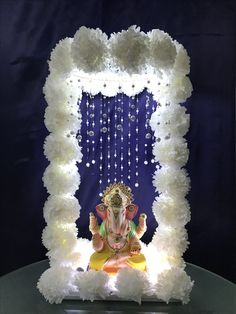 Flower Decoration For Ganpati, Ganpati Decoration Design, Kalash Decoration, Mandir Decoration, Ganapati Decoration, Gauri Decoration, Diwali Decorations At Home, Backdrop Decorations, Festival Decorations