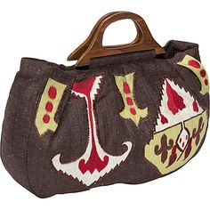 #FabricHandbags, #Handbags - Moyna Handbags Handloom Silk Ikat Embroidered Bag - Tote