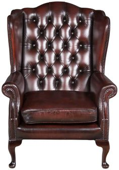 Vintage Oxblood Leather Wing Back Arm Chair