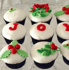 Cupcakes decorated for Christmas