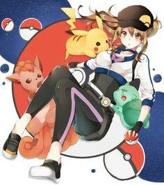 ♥ Girl... Pikachu... Pokémon... Pokémon GO!... Pokeball(s)... Blush... Anime ♥