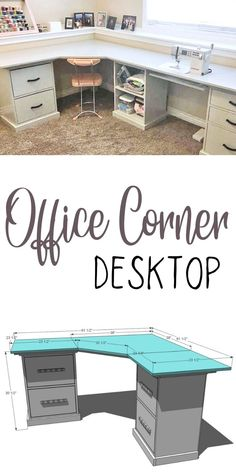 Craft Room Desk, Diy Desk, Corner Desk Diy, Diy Crafts Desk, Craft Space, Diy Furniture Building, Diy Furniture Plans, White Furniture, Desk Plans