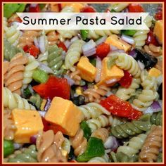 ~Summer Pasta Salad~     1 pound Tri-Color Rotini;     1 large Green Bell Pepper diced;     1 large Red Bell Pepper diced;     1 small Red Onion diced;     1 cup Italian Dressing;     1 pound Cubed Cheese (I prefer Colby or Colby Jack);     1/2 cup chopped olives (which ever color you prefer);     Salt & Pepper to taste;     Optional: Pepperoni.