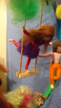 Needle felted mobile Waldorf inspired Boy and a girl on
