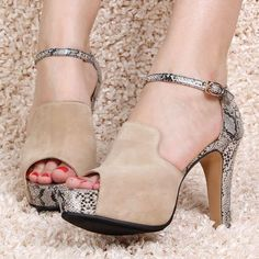 awesome Shoespie Snakeskin Suede Platform Sandals