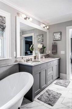 Bathroom Grey, Bathroom Paint Colors, Bathroom Wall, Small Bathroom, Bathroom Ideas, Bathroom Cabinets, Kitchen Cabinets, Kitchen Paint, Master Bathroom