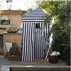 Striped Portable Changing Cabana Tent Patio Beach Pool