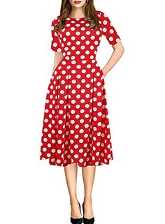Oxiuly Womens Retro Dot Patchwork Pocket Puffy Swing Casual Party Dress OX165 XL red dot ** You can find out more details at the link of the image.