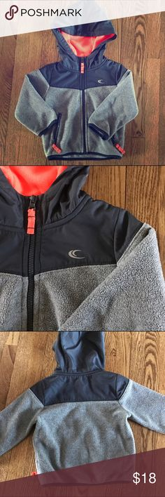 Carters fleece jacket Fleece jacket from carter's. color is great wth black and orange trim. My son lives in these types of fleeces especially in spring and fall. This is a thicker fleece so it keeps you warm. Perfect addition to any boys wardrobe. Easy for everyday wear and play. In great condition! Carter's Jackets & Coats