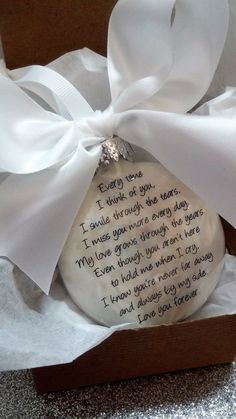 Memorial Ornament In Memory Gift Loss of Husband Loss of Wife Every Time I think of You Spouse Sympathy Personalized Bearevement Gift Custom Memorial Ornaments, Diy Christmas Ornaments, Glass Ornaments, Holiday Crafts, Christmas Decorations, Christmas Ideas, Christmas Balls, Teacher Ornaments, Christmas Sewing
