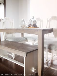 give furniture a 'restoration hardware' rustic look - love this finish!