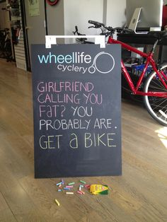 Great sandwich board from a friend's bike shop
