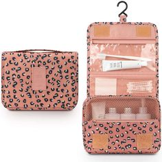 Toiletry Bag for Women,Mossio Waterproof Big Makeup Case with Large Compartment Pink Leopard Travel Size Toiletries, Shower Rod, Travel Organization, Pink Leopard, One Bag, Travel Makeup, Large Bags, Travel Bags, Travel Toiletry Bag