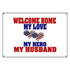 CafePress Welcome Home Husband - Vinyl Banner, Hanging Sign, Indoor/Outdoor >>> Check this awesome product by going to the link at the image. (This is an affiliate link) Homecoming Signs, Military Homecoming, Military Mom, Welcome Home Banners, Welcome Home Signs, Deployment Countdown, Military Welcome Home, Deployment Care Packages, Going Away Gifts