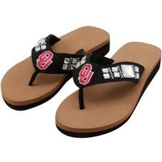 $24.95 Oklahoma Sooners Ladies Jewel Wedge Flip Flops - Black