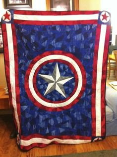Captain America Quilt bykimby1213 - D needs this one!