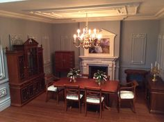 Another lovely room from RepliCast Customer Emma Waddell of Dolls House Grand Designs. She has used RepliCast Miniatures Ceiling Panel RepliCast Miniatures Large Ornate Wall Panelling & RepliCast Miniatures Ornate Wall Panels (Pk of Miniature Rooms, Miniature Kitchen, Miniature Houses, Miniature Furniture, Dollhouse Furniture, Dollhouse Interiors, Dollhouse Miniatures, Big Doll House, Ios