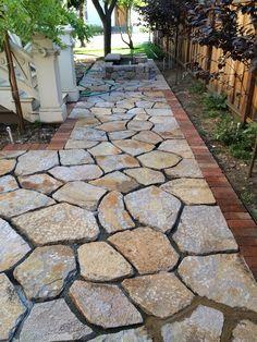 Flagstone Patio Pavers Design Ideas For Backyard Patio Landscaping Ideas Backyard Patio Designs, Backyard Landscaping, Patio Ideas, Pavers Ideas, Landscaping Ideas, Walkway Ideas, Landscaping Software, Diy Patio, Backyard Ideas