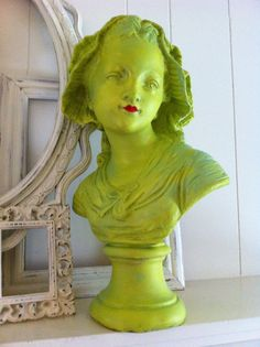 Vintage Chartreuse Girl Bust Hollywood Regency Salon Decor Unique Home Funky Lime from FeFiFoFun on Etsy. Saved to New Things. Hollywood Regency, Hollywood Style, Small Salon, Boutique Decor, Boutique Ideas, Beauty Salon Design, Beauty Salons, Home Salon, Lime