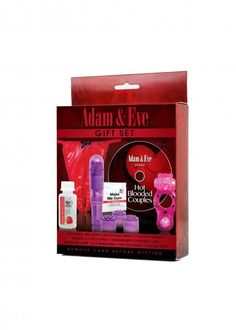 Adam and Eve Gift Set with a little something for both of you. Hot Blooded Couples DVD, Make Me Cum Clitoral Stimulating Gel .25ml foil package, Red Satin Crotchless Panty, Power O Cock Ring, Strawberry Pheromone Lotion, Strawberry Flavored Lubricant, Pocket Rocket Massager with 4 head attachments. Keep it sexy! Gift Set has everything you need to keep you and your lover super sensual. This exclusive 6 item kit is ready to light up your holiday nights and save you some serious money, too!