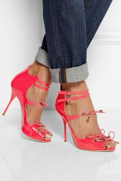 Sophia Webster|Finn neon patent-leather peep-toe pumps|NET-A-PORTER.COM