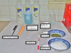 Supplies: -Shampoo -Conditioner -Fine tooth comb -Wide tooth comb -Dish soap -Baking soda -Toothbrush -Towel (to put over the work surface) -a bottle with gel diluted in water (I use a color bottle which I put about 1-2 tablespoons of gel in and then mix with warm water)  Steps: #1: Fill up the sink with water (it doesn't matter what temperature).  If the dolls I am going to wash are really dirty and unsanitary, I always use super hot water to disinfect them.  Put in a little dish soap an...