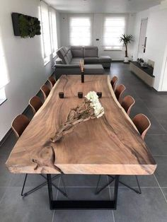 Dining Room Table Decor, Dining Room Design, Living Room Decor, Wood Slab Dining Table, Natural Wood Dining Table, Wood Table Design, Wooden Dining Tables, Rustic Table, 8 Person Dining Table