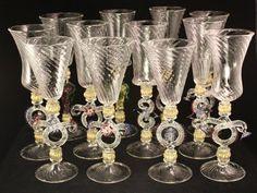 Set 12 Vintage Murano Venetian Art Glass Wine Champagne Flutes Salviatti Moretti