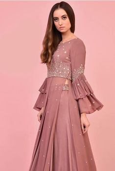Embellished with hand embroidery work and modern silhouettes.Pin by Deep Mangat on Indian dresses in 2019 Kurti Sleeves Design, Sleeves Designs For Dresses, Sleeve Designs, Indian Gowns Dresses, Pakistani Dresses, Lehnga Dress, Silk Dress, Georgette Dresses, Dress Skirt