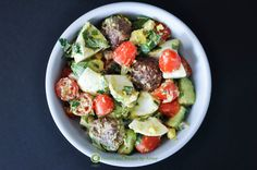 Ingredients: 1 pound turkey and chicken breakfast sausage 9 hard-boiled eggs 3 cups halved cherry tomatoes 1/4 cup chopped red onion 2 avocados, diced 1/2 cup chopped cilantro 2 lemons, juiced Seas...