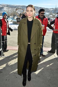 Rooney Mara in all black with an olive coat