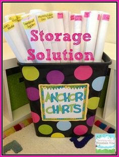I was thinking it would also be cute for wrapping paper, maps, posters, etc. Teaching With a Mountain View: Anchor Chart Storage Solutions