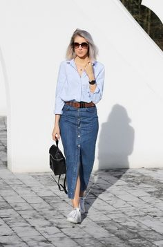 long denim skirt. Celine in Stockholm. #hippiehippiemilkshake | On ...