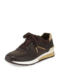 X30RZ MICHAEL Michael Kors Allie Wrap Leather Sneaker, Brown