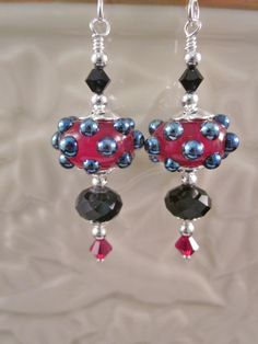 """The Simply Elegant Collection - """"Red & Jet Dots"""" Sterling Silver Earrings - Lampwork Glass, Swarovski Crystal, Unique, OOAK, SRAJD by CreationsbyCynthia1 on Etsy"""