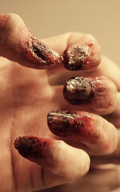 awesome nails so good and gross for all hallows eve