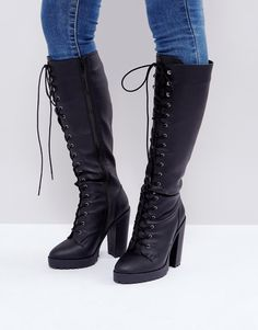 b76fb84add ASOS CAPRICE Heeled Lace up Boots - Black Black Lace Boots, Lace Up Heel  Boots