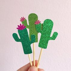 Glitter Cactus Cupcake Toppers Fiesta Cupcake by CloverandBloomCo